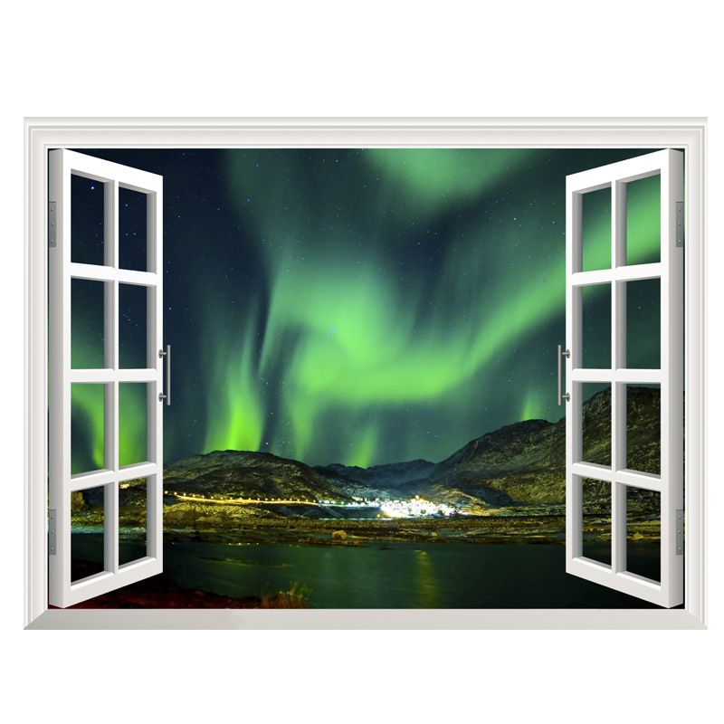 3D sky tropical ocean wall sticker 3D window view aurora blue sea home decor creative scenery living room office decals stickers