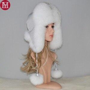Image 1 - Женская шапка бомбер из натурального Лисьего меха, теплая шапка из натурального меха лисы хорошего качества, новинка зимы 2020