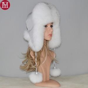 Image 1 - 2020 New Winter Russian Natural Real Fox Fur Hat Hot Sale Women Warm Good Quality Fox Fur Bomber Hats Genuine Real Fox Fur Cap