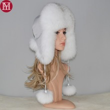 2020 novo inverno russo natural real raposa pele chapéu venda quente das mulheres quente boa qualidade raposa pele bomber chapéus genuíno real raposa pele boné