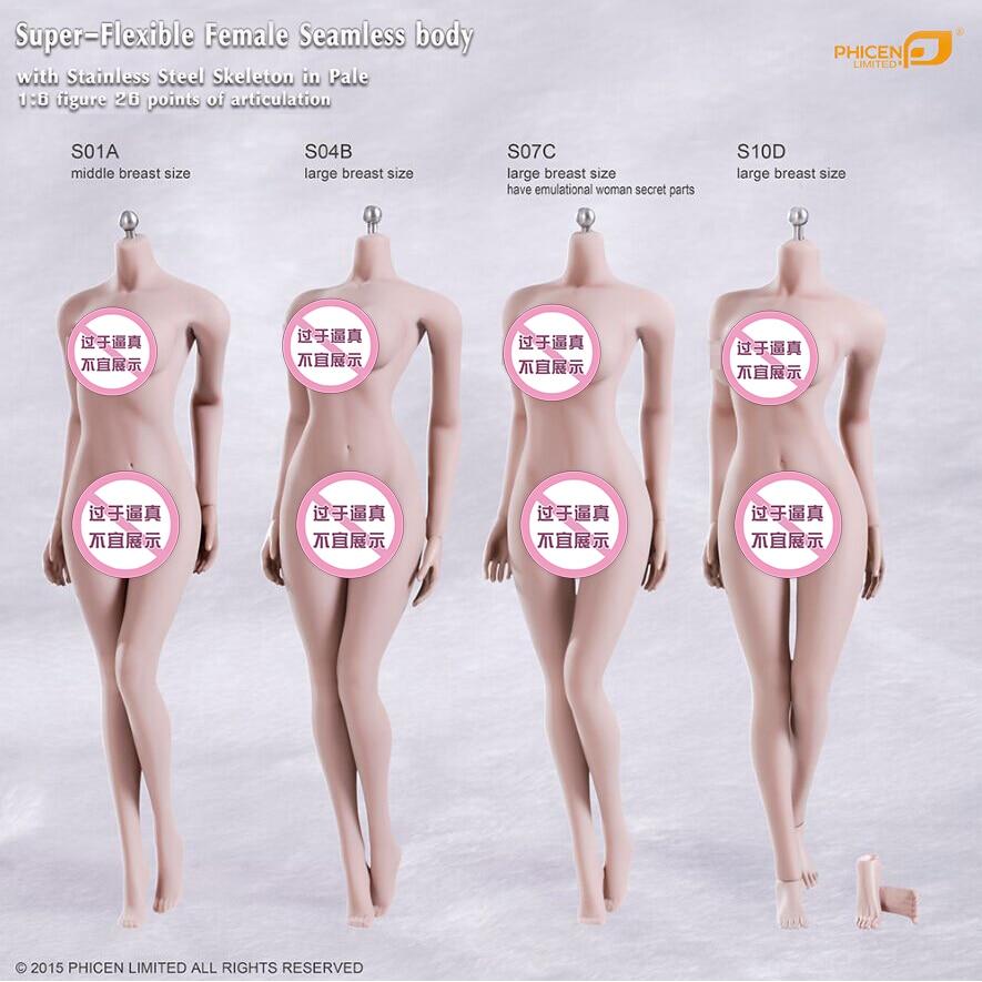 "TBLeague S20A 1//6 Female Flexible Pale Skin Large Breast 12/"" Figure Body Model"