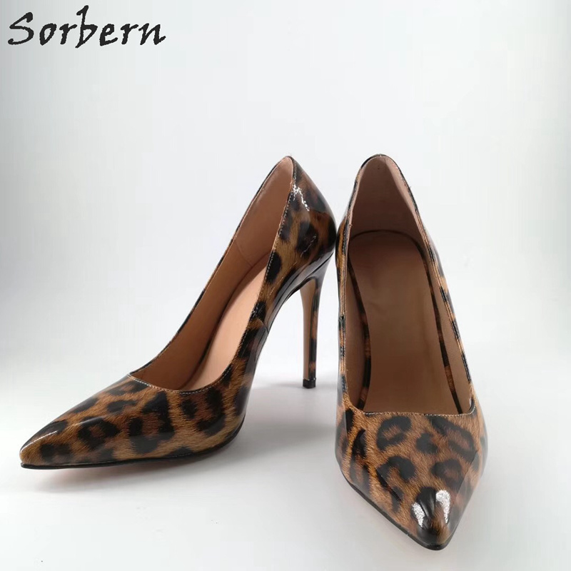 Sorbern Brown Leopard Ladies Dress Heels High Heels Pointy Toe Stilettos Evening Club Party Shoes Heel Shoes Women Size 11 Big sorbern sexy pointy toe women pump high heels stilettos slip on ol shoes pumps women shoes big size 34 47 ladies shoes heels