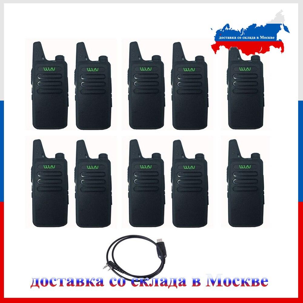 10 pièces WLN KD-C1 talkie-walkie 16 canaux Radio jambon UHF 400-470 MHz MINI-émetteur-récepteur de poche deux voies Radio communicateur + 1 pièces USB