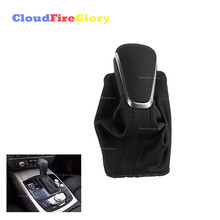 CloudFireGlory For Audi NEW A6 PA STYLE C7 2016 2017 2018 Black Gear Shift Knob with Leather Boot Gaiter LHD AT Auto Trans ONLY for audi a3 a6 s6 q7 2005 2012 gear shift knob gaitor boot cover leather leather gaiter boot black at lhd only