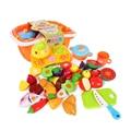 21 pçs/set Diversão Cozinha Corte Cozinhar Frutas & Vegetais Food Playset para Crianças Da Marca Brinquedos de Plástico ABS Segura