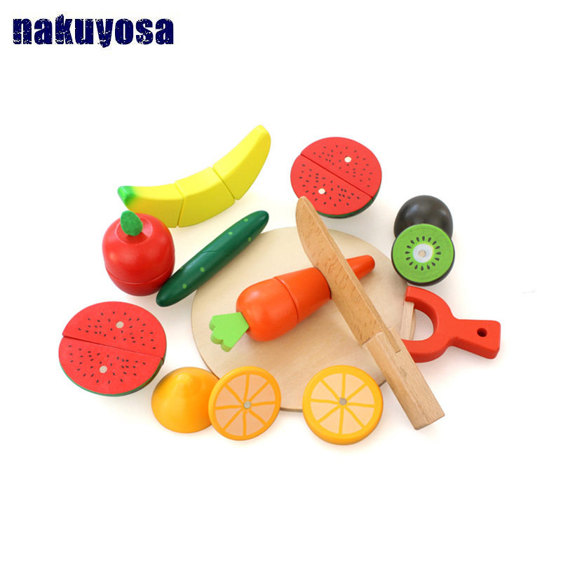 10Pcs/set Wood Kitchen Food Fruit Vegetable Cutting Toys Cook Cosplay Educational Safety Children Kitchen Toys For Children