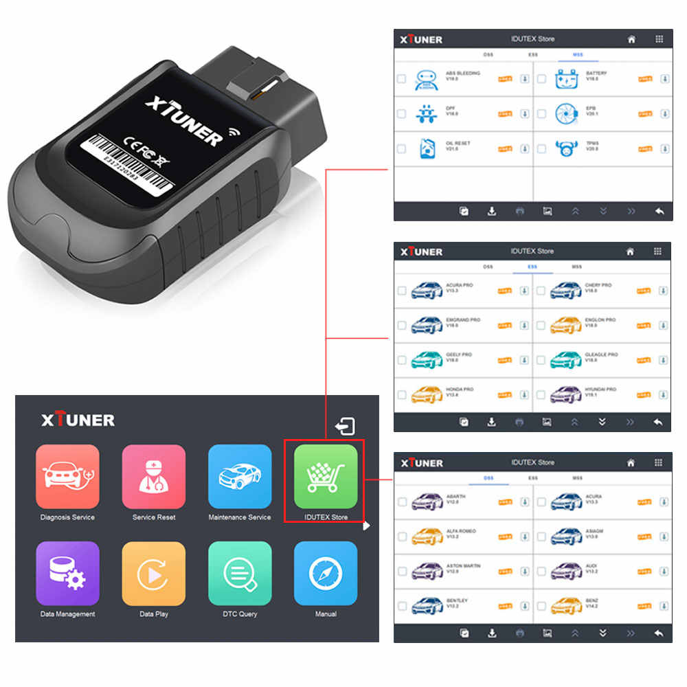 XTUNER E3 V9 6 Wifi Full System Auto Scanner for America,Europe,Asia cars  with 8 inch Tablet Win 10 System OBDII Diagnostic Tool
