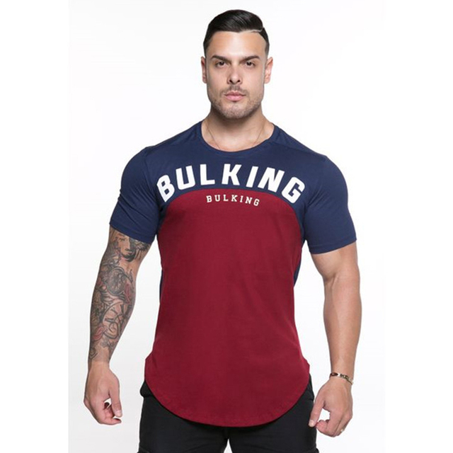 BULKING 2019 Men Summer Fashion Leisure t Shirt Fitness Bodybuilding Muscle male Short Slim fit Shirts Cotton Tee tops clothing