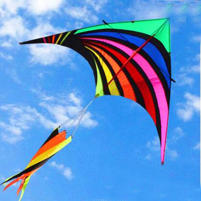 O envio gratuito de alta qualidade novo design do arco íris delta pipa nylon ripstop tecido pipa weifang hcxkite fábrica pipa brinquedos ao ar livre