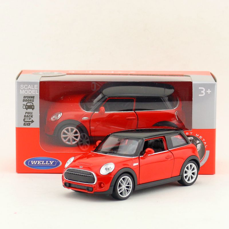 Welly Diecast Metal Model/1:36 Scale/new Mini Hatch Toy Car/pull Back Educational Collection/childrens Gift/collection Diecasts & Toy Vehicles