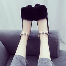 Autumn flats pointed toe rex rabbit fur comfortable flat heel Moccasins women's beaded loafers