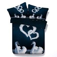 6 Parts Per Set Bed Sheet Set Swans in Love 3d bedding set