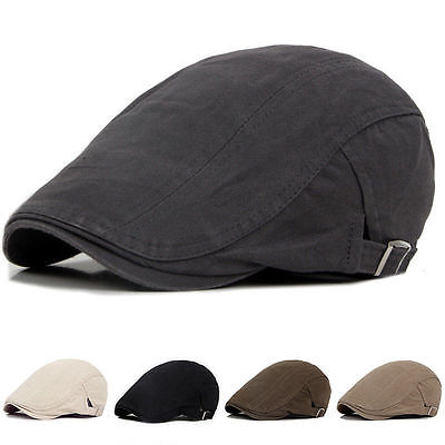 Mens Solid Cotton Cap Golf Driving Sun Flat Cabbie Beret Hat