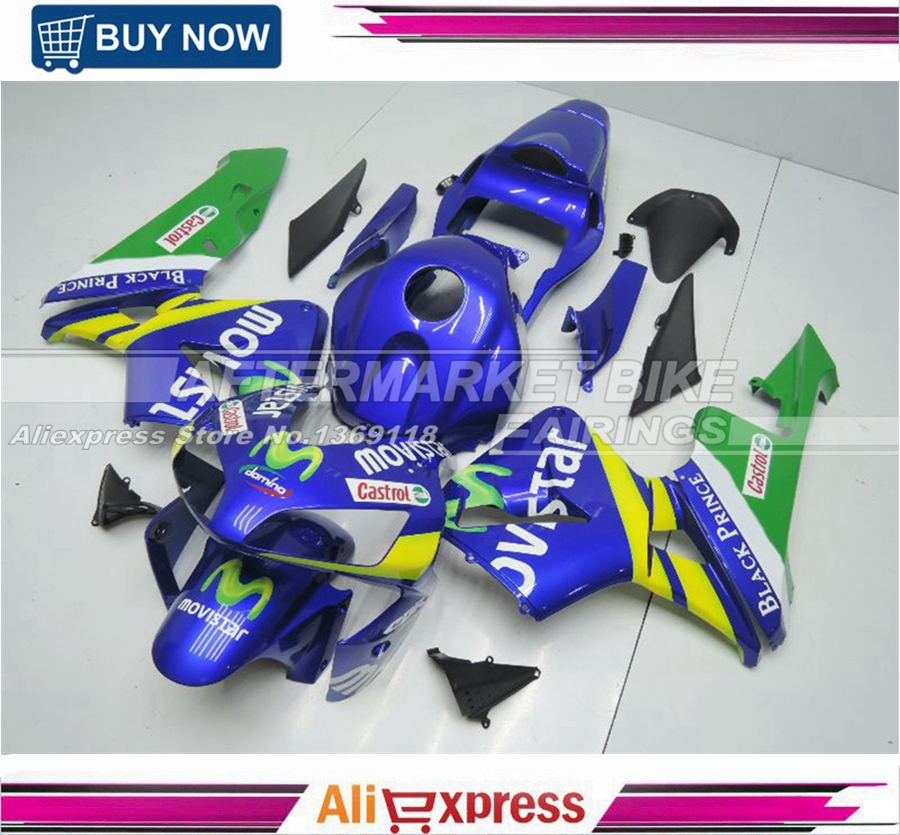 Injection Molding Road Fairings kit for Honda CBR600RR 2003 2004 CBR 600 RR 03 04 MOVISTAR ABS Fairing Cover hot sales for honda cbr600rr 2003 2004 cbr 600rr 03 04 f5 cbr 600 rr blue black motorcycle cowl fairing kit injection molding