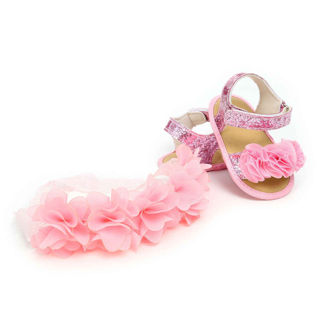 2019 Baby Summer Clothing Newborn Kid Baby Girl Flower Sandals Shoes Soft Sole Hook Casual Summer Shoes +Headband 2Pcs Solid Set