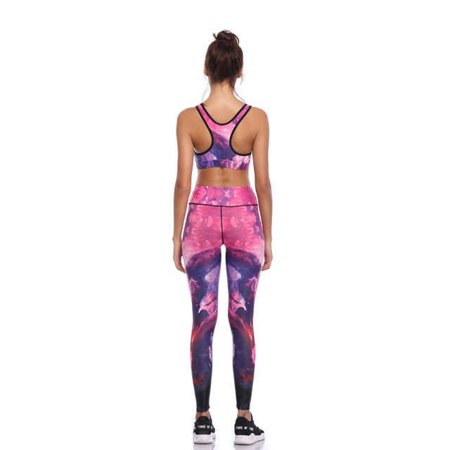 Women Print Push Up Quick Dry Spotrs Wear Yoga Suits Running Workout Gym Wear Tight Slim Training Suit S-XL