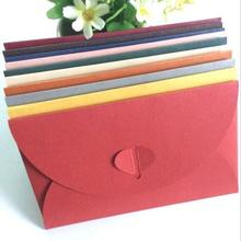 20pcs/lot Retro color branded leather pearl size heart buckle 2 decorative envelopes and cards containing envelope 175*110mm цена