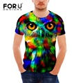 FORUDESIGNS New Fashion Men T-shirt Summer Tops Short Sleeve 3D Eagle Owl Print Vogue Men's T-shirt T shirt Cool Wolf Dog Tees