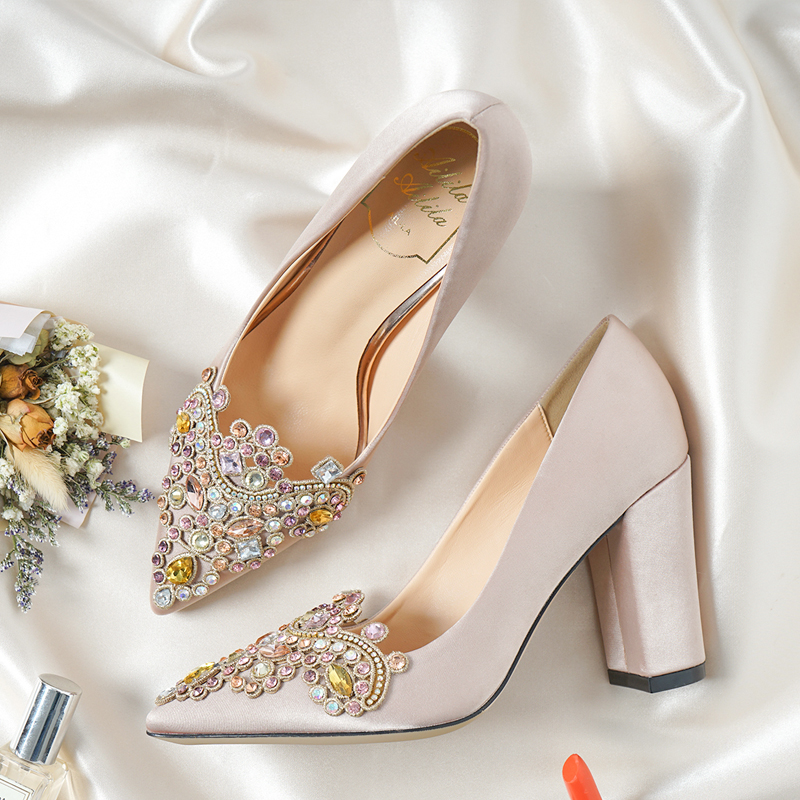 5a09017c3424 Wedding Shoes Female Pumps Silk Chunky Thick High heels Champagne Color  Satin Embroidery Crystal Pointed Toe Comfortable Shoes-in Women s Pumps  from Shoes ...