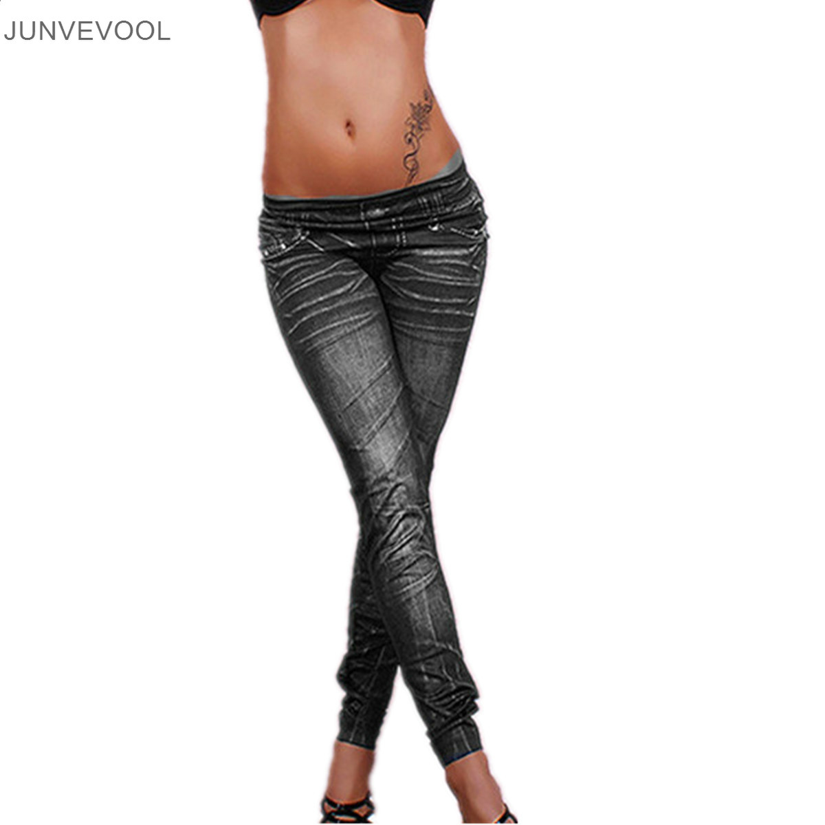 Female Trouser Women Skinny Leggings Tattoo Destroy Hole ...
