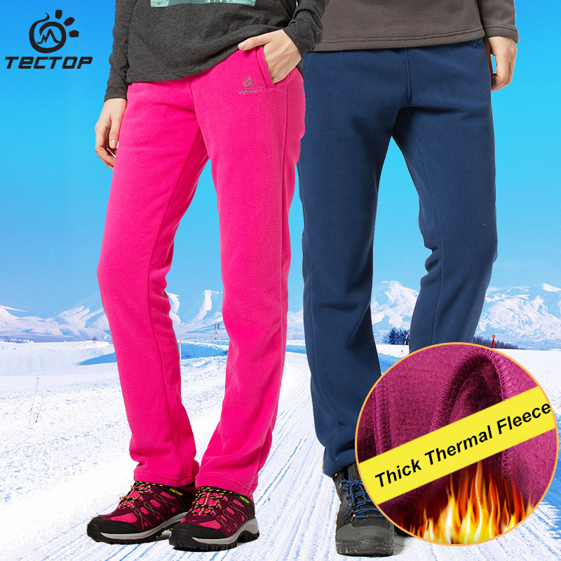 Tectop Autumn and Winter Thick Fleece Pants Sports Polar Fleece Fabric Windproof keep warm Thermal Plus Size Men and Women Pants