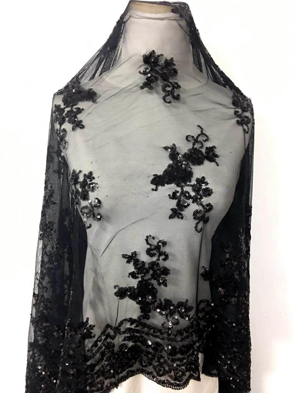 LASUI DIY Bone เย็บปักถักร้อยลูกไม้นุ่มสุทธิสีดำ sequined Performing ชุดงานแต่งงาน dressdrape มุมมองที่ดี X0083-ใน ผ้า จาก บ้านและสวน บน   1