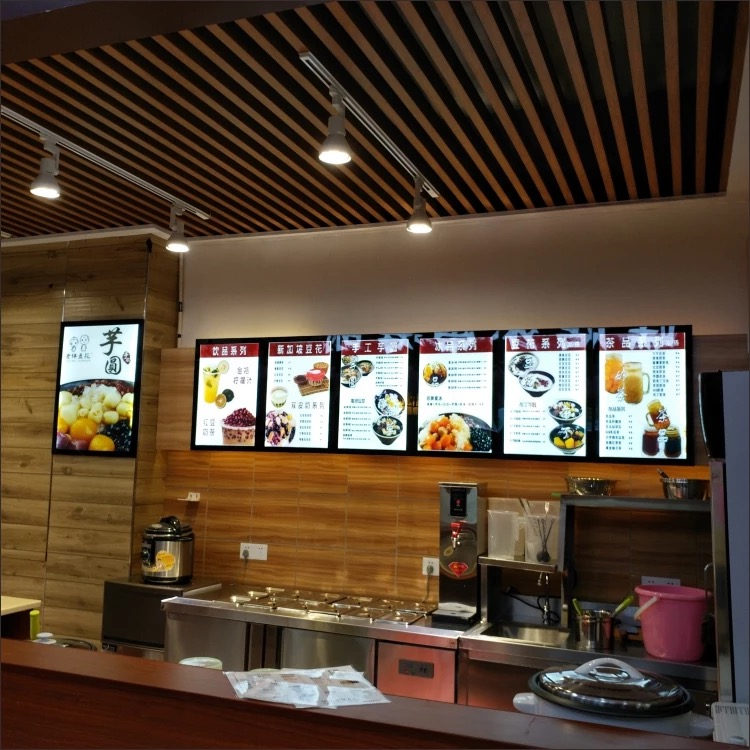 Restaurant LED Menu Poster Display Systems A2 Magnetic