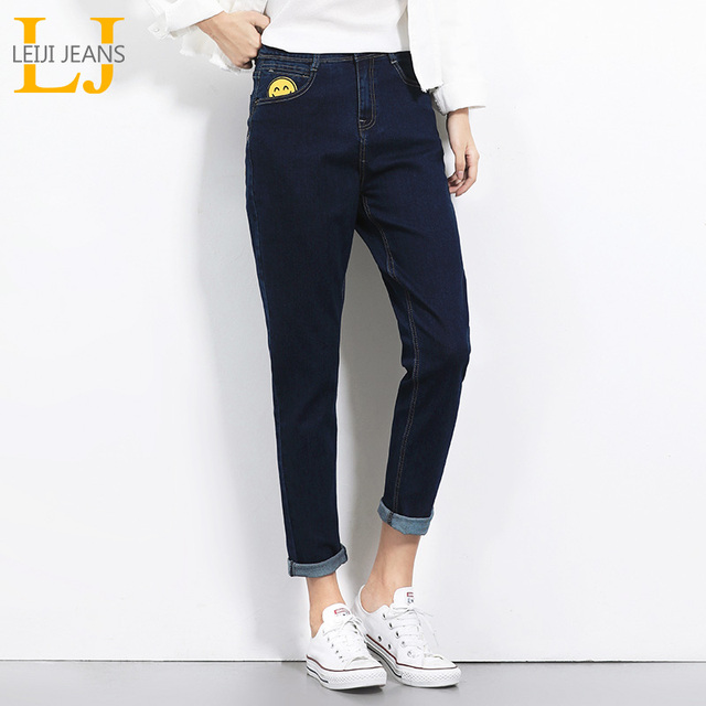 766fadd498d 2018 New Arrival Spring Smile Face Sticker Mid Waist Full Length Plus Size  S-6XL Fashion Women Loose Straight Harem Jeans 5492