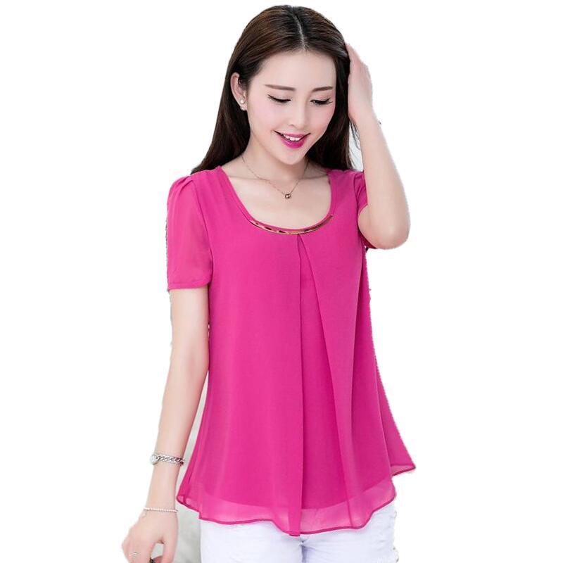 divat 7 szín s-4XL nyári laza nagy méretű chiffon blúz rövid - Női ruházat