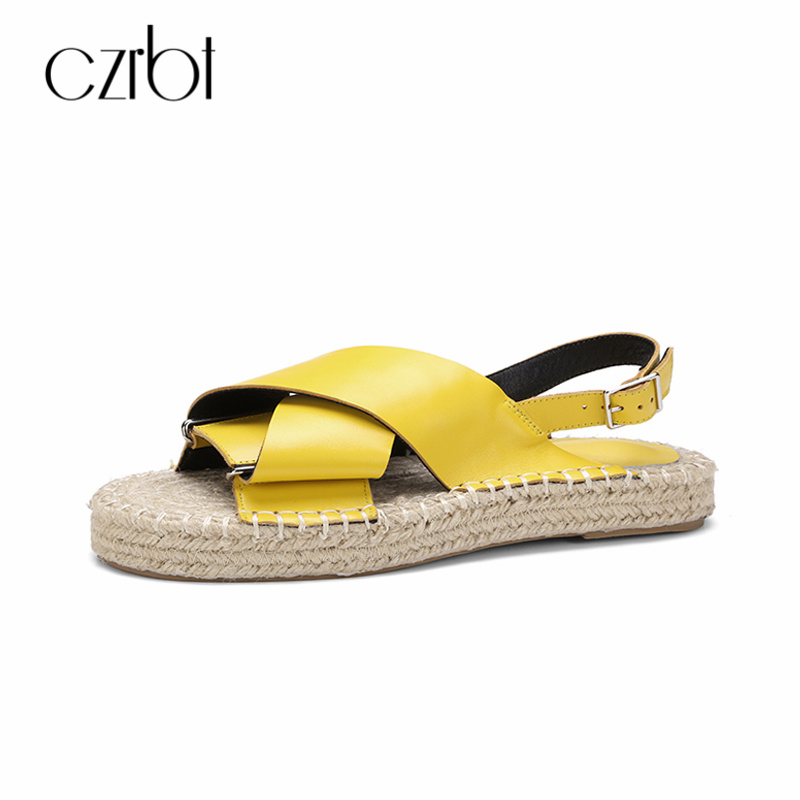 CZRBT Fashion Grass Solo Summer Gladiator Sandals Shoes Women Platform Flats Ladies Handmade Genuine Leather Espadrilles Flats 2016 summer women flat platform slippers fashion hemp rope insole ladies genuine leather buckle sandals designer espadrilles