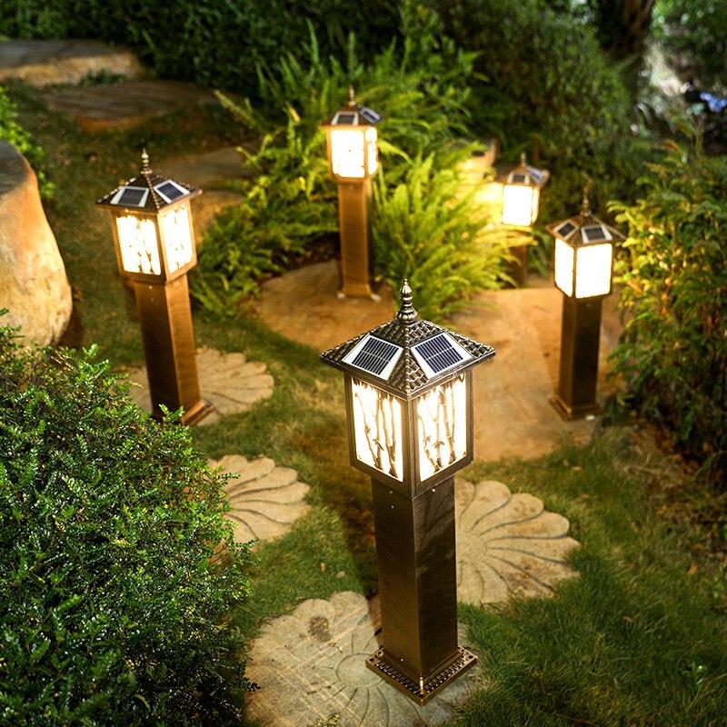 solar lawn lights aluminum retro garden light outdoor solar path lamp waterproof post light yard decoration outo on/off lighting Solar Lamps     - title=