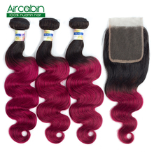 1B/Burgundy Brazilian Body Wave Ombre Hair 3 Bundles Human Hair Bundles With Closure 12-24 Inch Aircabin NonRemy Hair Extensions