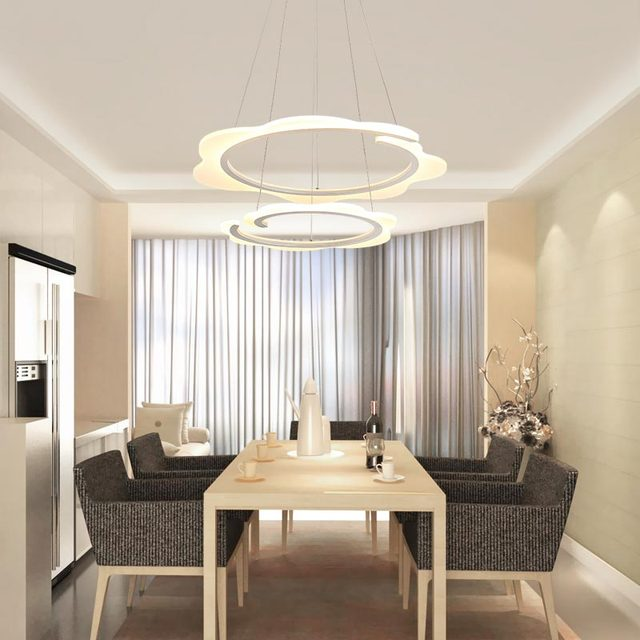 Modern Ring Led Pendant Lamp With Remote Control Kitchen Living Room Rope Light  Fixtures Decor Home