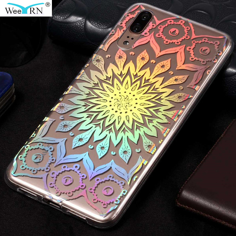Colorful Shinning Laser Silicone Case Huawei P20 lite / P20 / P20 Pro Flower Luxury Premium Cover Huawei P20 lite
