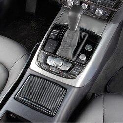 Dekoracja paneli zmiany biegów samochodu rama sterowania klimatyzatorem naklejki z włókna węglowego tapicerka dla Audi A6 C7 RHD LHD akcesoria samochodowe