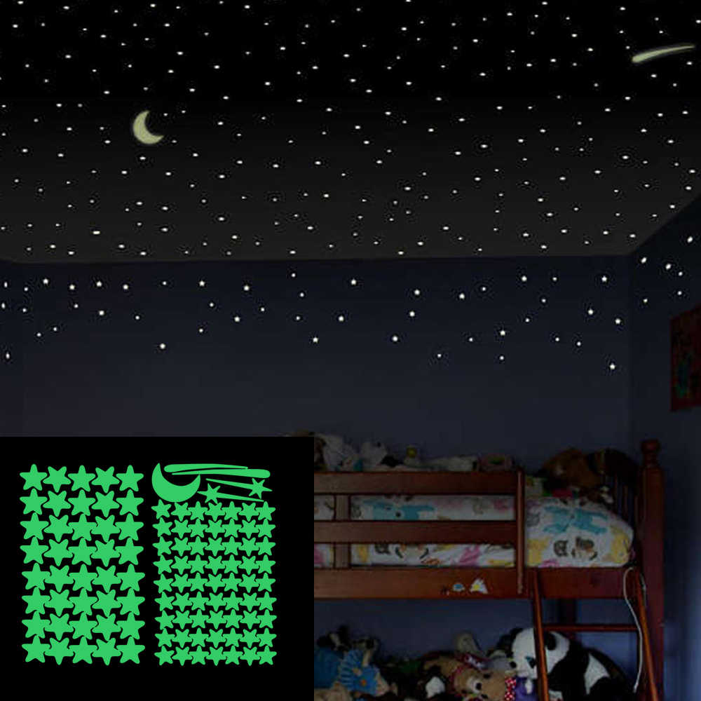 Pegatinas Que Brillan En La Oscuridad De La Luna De Estrella Luminosa Pegatinas De Pared Fosforescentes Para Bebé Calcomanías De Pared Del Dormitorio Decoración Del Hogar 103 Uds Adhesivos Para Pared Aliexpress