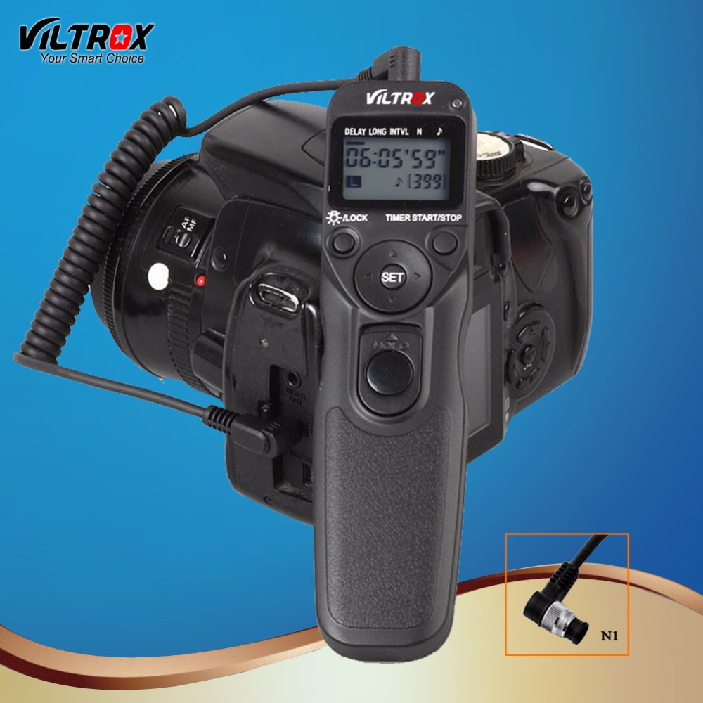 Viltrox MC-N1 LCD Timer Shutter Release Remote Control Wire for Camera Nikon D850 D5 D500 D810A D810 D800 D800E D700D D300 DSLR 1 2 lcd wired remote shutter release for nikon camera black