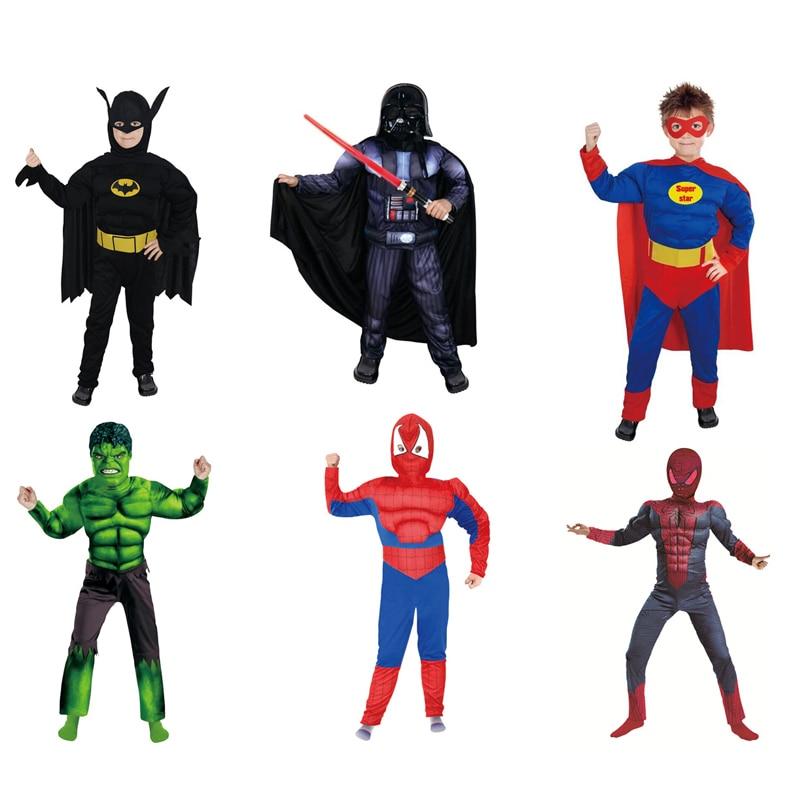 DJGRSTER Jongens Muscle Super Hero Black Warrior Kostuum Spiderman - Carnavalskostuums