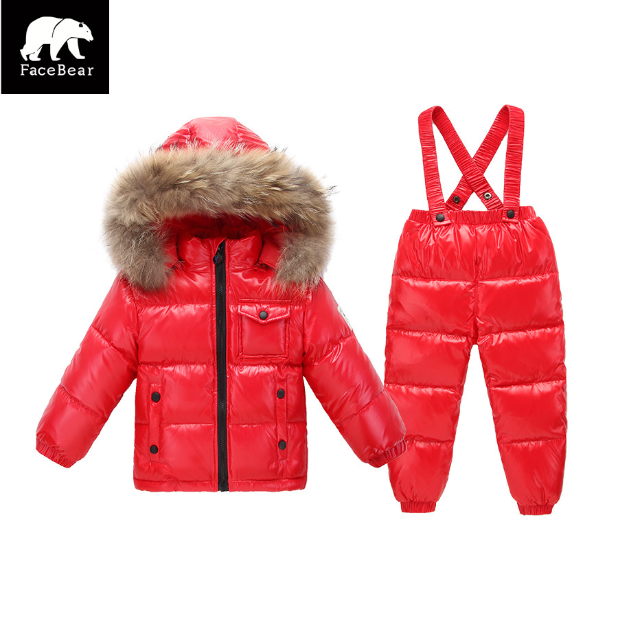 factory price promotion Russia winter kids 90% duck down Natural fur clothes set children's boys girls down coat +down pants 2017 winter new clothes to overcome the coat of women in the long reed rabbit hair fur fur coat fox raccoon fur collar
