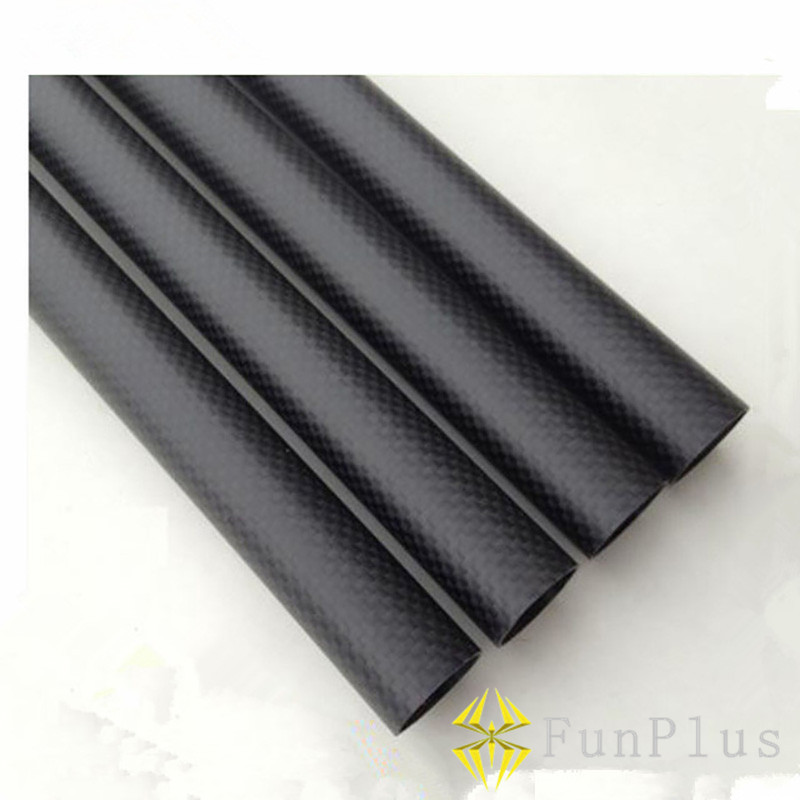 цена на 2pcs High Strength 3K Carbon Fiber OD 20mm X ID 18mm X 500mm Length Plain Twill Matte Glossy Roll Wrapped Tube for FPV 20*18