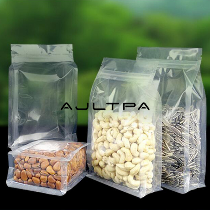 2000pcs/lot Box Pouch Clear Transparent Stand Up Zip Bags For Food Storage Bag Flat Bottom/Side Gusset And Angle Seals