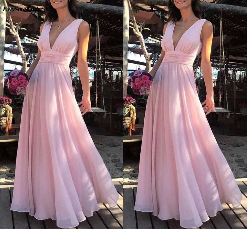 Long Pink Bridesmaid Dresses New 2019 V Neck Chiffon Sleeveless Floor Length A Line Modern Formal Occasion Dresses Maid Of Honor