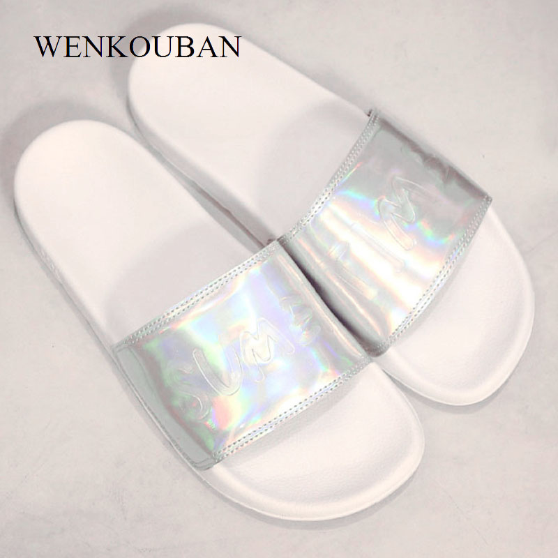 Summer Tap Women Slippers female Home Slides Ladies Flat Sandals House Flip Flops Laser Beach Shoes Zapatos Mujer big Size 35-44 цена