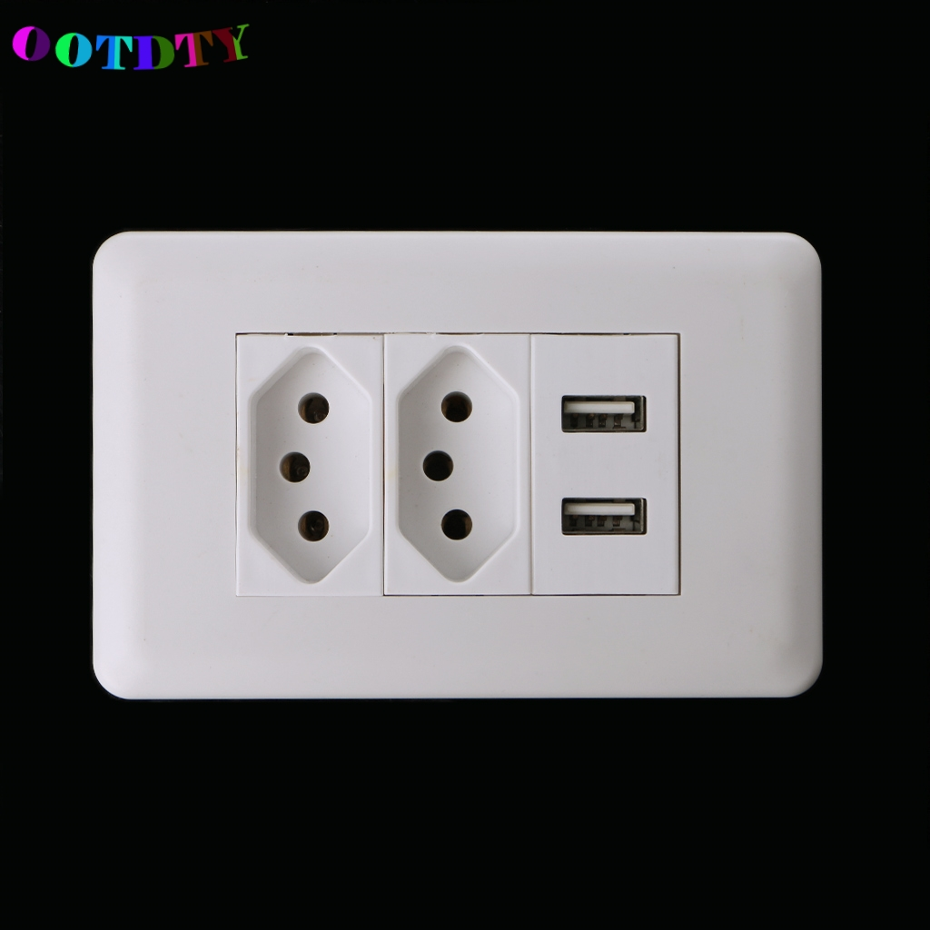 OOTDTY 15A Wall Double Standard Power Socket Adapter Dual Ports USB Charger Panel 5V 2.1A G07OOTDTY 15A Wall Double Standard Power Socket Adapter Dual Ports USB Charger Panel 5V 2.1A G07