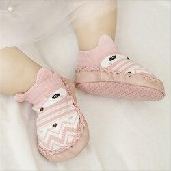 Обувь для малышей домашние носки с мягкой подошвой для новорожденных с изображением совы, лисы и милых животных обувь с резиновой подошвой ...