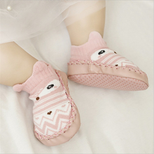 Toddler Baby Shoes soft sole Newborn Infant First Walker cartoon owl fox cute animals home sock shoe with PU leather rubber sole