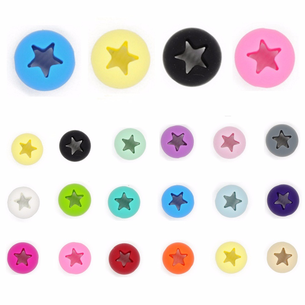 TYRY.HU 50pcs Hollow Star Baby Teething Beads Round Silicone Beads For Jewelry Making Chew Necklace Baby Teether BPA Free 15mm