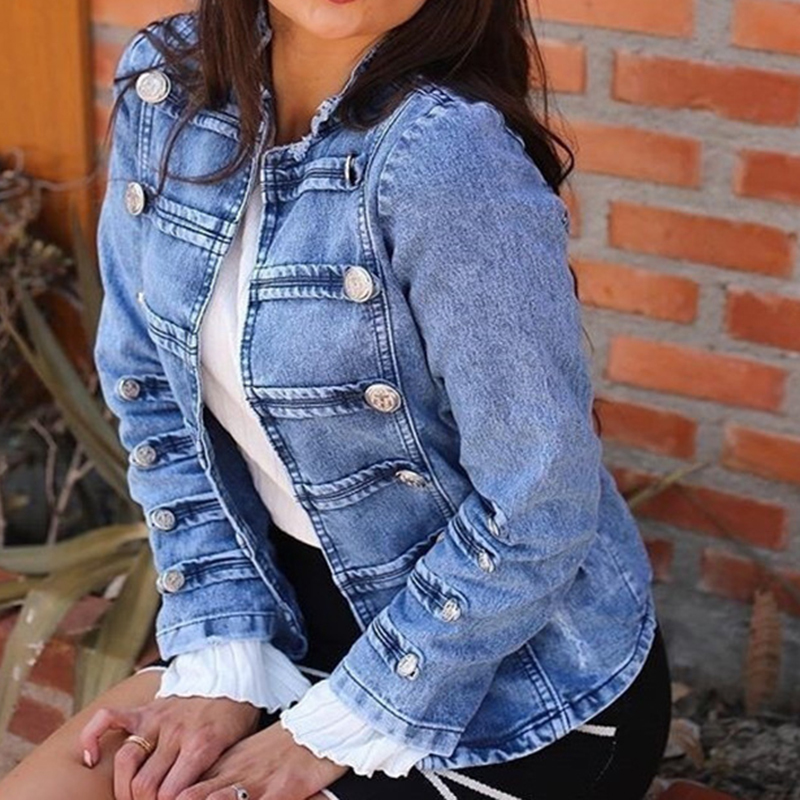 YOCALOR New Women Double-breasted Steampunk Gothic Punk Jeans Denim Jacket Coat Light Blue Leisure Denim Jacket Women