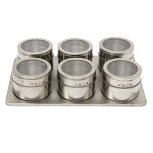 7in1 Magnetic Spice Jar Set Rack Holder Seasonings Containers Condiments Storage Silver