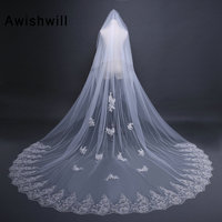 White/Ivory Wedding Veil 3m Long Comb Lace Mantilla Cathedral Bridal Veil With Comb Wedding Accessories Veu De Noiva Real Photos